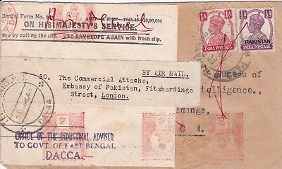 Pakistan 1949 Overprinted ½A & India 1A Combination Cover, Re-Used, Temporary Po