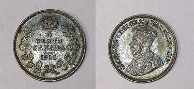 1913 CANADA STERLING SILVER 5 CENT aUNC. STEEL BLUE TONING INV#337-29