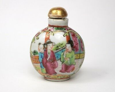 Antique 19th century Chinese Famille Rose porcelain snuff bottle.