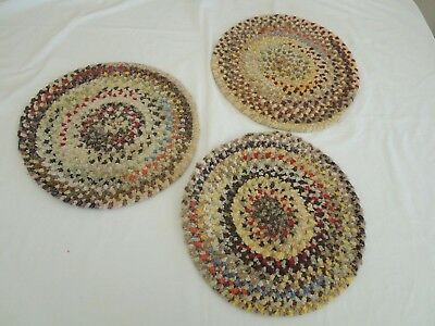 """3 Vintage 14"""" Braided Multi-color Chenille Chair Pads Or Doll House Rugs"""