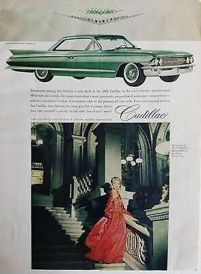 1961 green Cadillac 2 door car Vienna Opera House Adlmuller red gown ad
