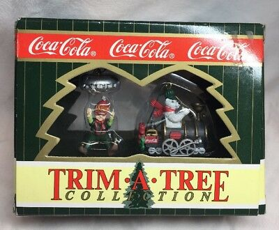 (2) 1997 Vintage Coca Cola Coke Trim A Tree Ornaments! RARE! Elf & Polar Bear!!