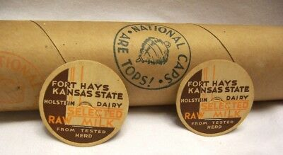 1930's Fort Hays Kansas State Holstein Dairy NOS Tube of 500 Milk Bottle Caps