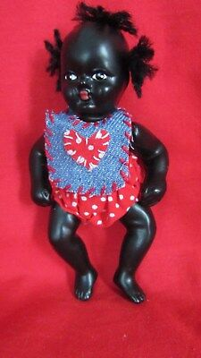 "Vtg Bisque Jointed Strung Black Americana 4"" Baby Doll, Tufted Hair, NIB"