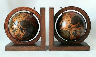 Pair Vintage Old World Globe Bookends, Zones, 16th Century Reproduction, Italy