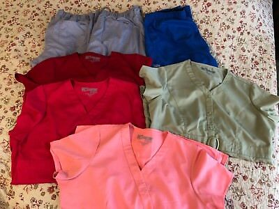 Lot Of 7 Ladies Greys Anatomy Scrub Pieces Size Large (4 Tops 3 Bottoms)