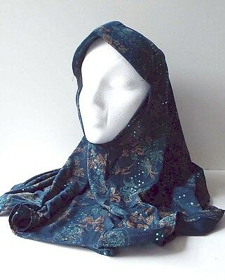 Womens One Piece Islamic Head Covering Hijab Sparkly Print with Sequins