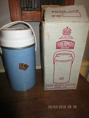 Vintage / Retro 1950s / 60s Thermos Flask in box .Thermos Vacuum Food Jar no.707