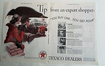 1939 Texaco gas gasoline dealers tip from an expert shopper family car ad