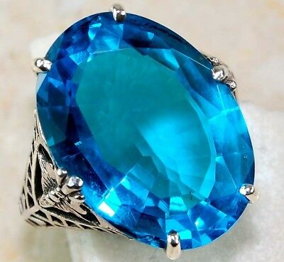 6CT Blue Topaz 925 Sterling Silver Victorian Style Filigree Ring Jewelry Sz 9