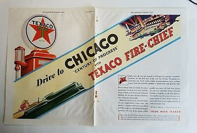 1933 Texaco Fire Chief gas gasoline Drive Chicago Century of progress ad