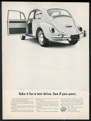 1965 VW Beetle classic car photo See if You Pass Volkswagen 13x10 ad