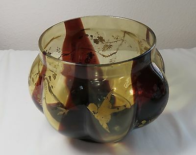 Art Glass Tortoise Shell Vase with Gold Trim of Flowers and Birds