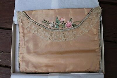 Vintage Early 1900's Peach-Pink Lace Silk Ribbon Embroidery Lingerie Bag