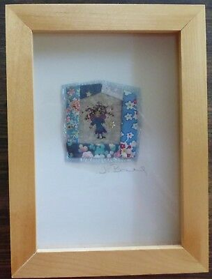 Fairy or Sprite - Vintage quilt piece, painted and embellished, framed