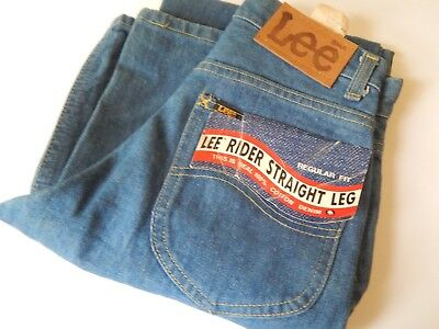 Vintage 70s LEE Rider Straight Leg Blue Jeans Denim Pants Dead Stock 27x34