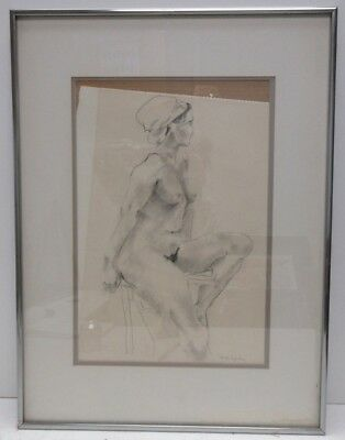 Shelagh Doyle (Seattle) Signed Orig 1979 Modern Minimalist Nude Figure Drawing