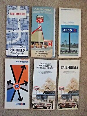 Six 1950's 60,'70's GAS STATION MAPS Richfield, Phillips, ARCO, Union 76, Texaco