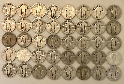 90% Silver Standing Liberty Quarters 40 Coins, $10 Face, Full and Partial Dates