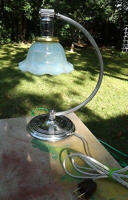 Antique - Chase Chrome Lamp & Opalescent Glass Shade - Lamp Works - Art Deco Era
