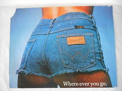"""Original WRANGLER BLUE JEAN GIRL SHORTS PRINT POSTER 27"""" by 21"""" - AS IS Damaged"""