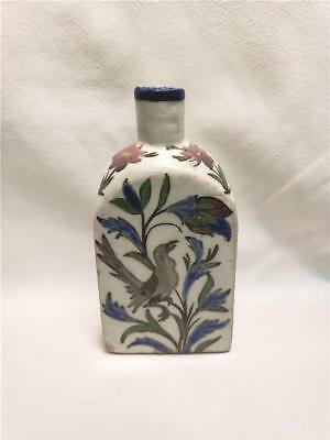 Antique Persian Middle East Islamic Pottery Flask Bottle Hand Made Painted Birds