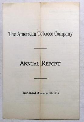 1936 AMERICAN TOBACCO COMPANY Annual Treasurer Financial Report to Stockholders