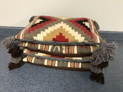 Vintage THROW PILLOW SET native american tapestry blanket indian woven moroccan