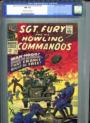Sgt. Fury #40 CGC 9.2 OW/White Pages Howling Commandos WAR