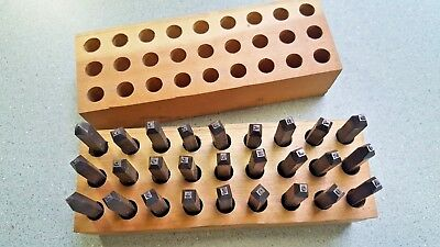 """Antique Metal Steel Stamping Dies Letter Punch Stamps Wood Box 1/16"""" small RARE"""