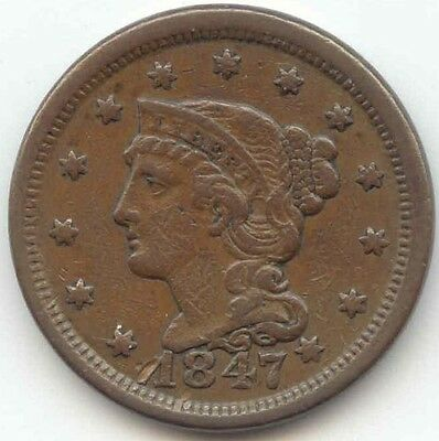 1847 7/Small 7, Braided Hair Large Cent, XF Details