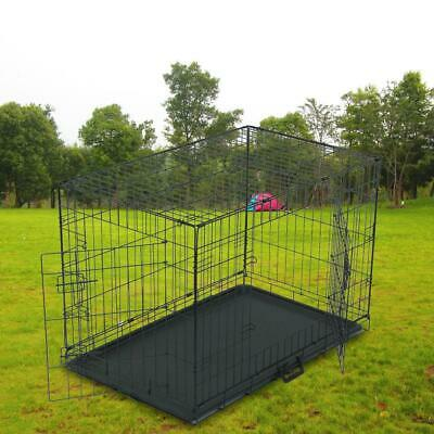 "36"" Dog Crate Fold Metal Pet Cage Kennel House for Animal 2 Door w/Divide w/Tray"
