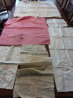 Lot Of 6 Vintage Stamped Linens Feedsack Runner Tablecloth