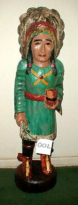 "Cigar Store Indian Wood Statue 39"" antique style Hand carved in Bali model #2"