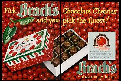 1950 Brach's Royal Anne chocolate covered cherries BIG vintage print ad