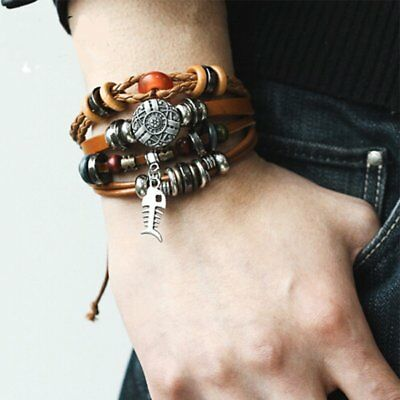 New Retro Multilayer Men Women Blue Eyes Leather Cuff Bracelet Bangle Jewelry