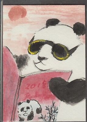 LinLi888 Art ACEO Orig. Watercolor Chinese Brush Painting Panda Reading 18071501