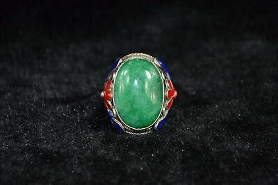 Collectible china culture Tibet silver flower inlay green jade adjust woman Ring