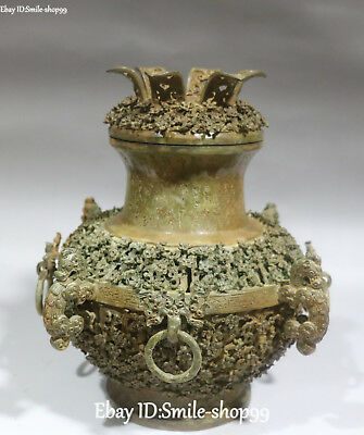 """11"""" China Bronze Ware Dynasty Palace Dragon Beast Wine Food Container Pot Vase"""