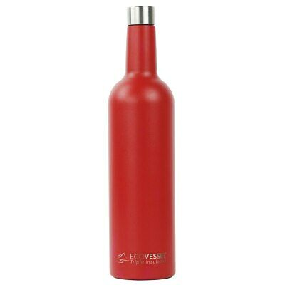 New EcoVessel VINE Triple Insulated Wine Bottle 750ml with Cleaning Brush