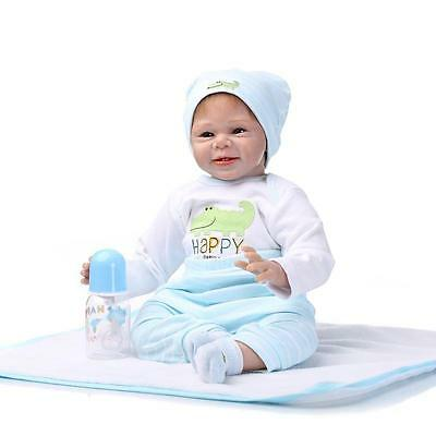 Reborn Baby Doll Soft Silicone vinyl 22inch Lovely Lifelike Cute Toy Sky Blue US