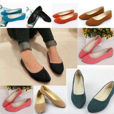 AU Women Lady 3 Style Suede Casual Formal Ballet Boat Flats Loafers Slip On Shoe