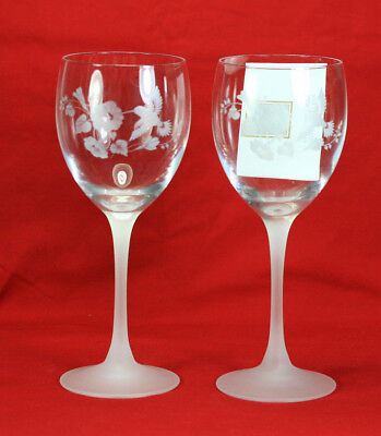 Two Vintage Avon 24% Lead Crystal Hummingbird Water Goblets