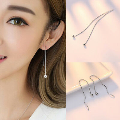 630b4386a Hot Women 925 Sterling Silver Ear Studs Chain Link Threader Party Earrings  Xmas