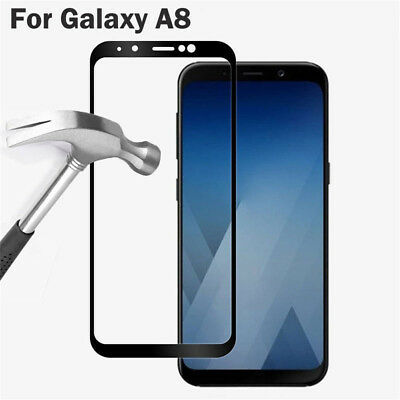 2018 Black Full Cover Tempered Glass Screen Protector For Samsung Galaxy A8