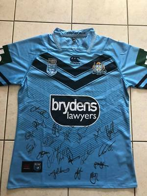 NSW Blues 2018 State Of Origin Signed NRL Jersey Full Squad and coach COA