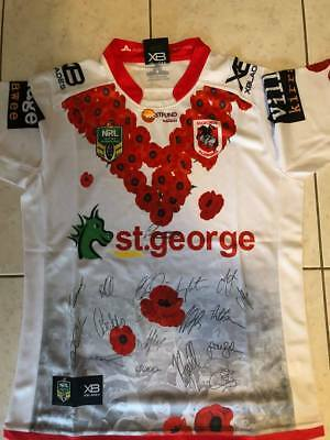 St George Illawarra Dragons 2018 Signed ANZAC NRL Jersey signed Players & Coach