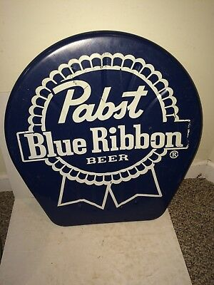 Vintage PBR Pabst Blue Ribbon Beer Chair Metal Seat Back Sign