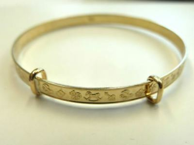 NEW 9ct Solid Gold Embossed Expanding Baby Bangle Fully UK Hallmarked Gift Boxed