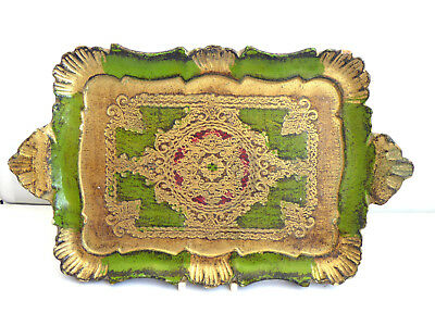 Antique Vintage Ornate Wooden Painted Serving Tray